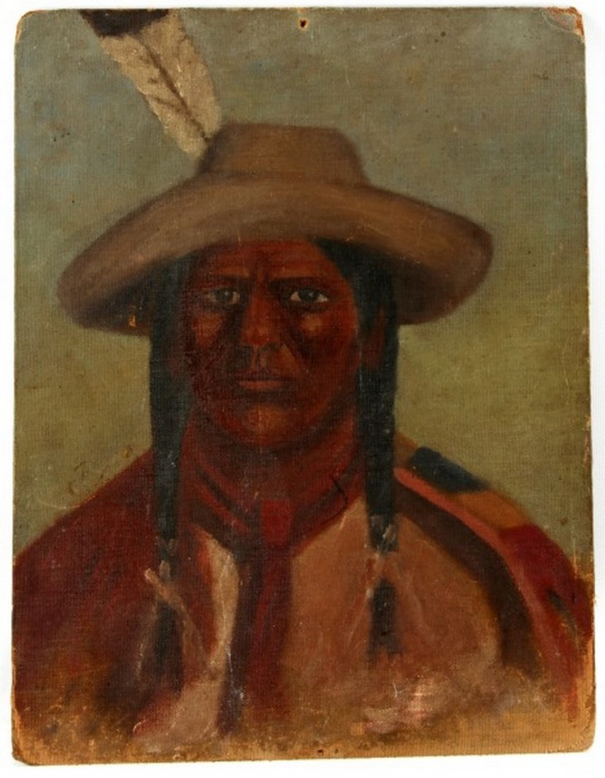 ANTIQUE NATIVE AMERICAN INDIAN OIL ON BOARD