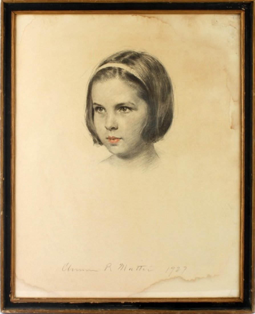 ORIGINAL SIGNED CHARCOAL PORTRAIT YOUNG GIRL