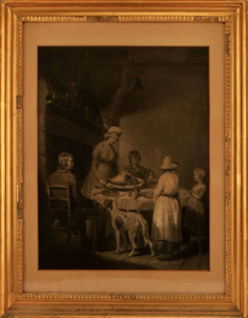 19TH C. ENGRAVING OF A FAMILY HAVING A MEAL