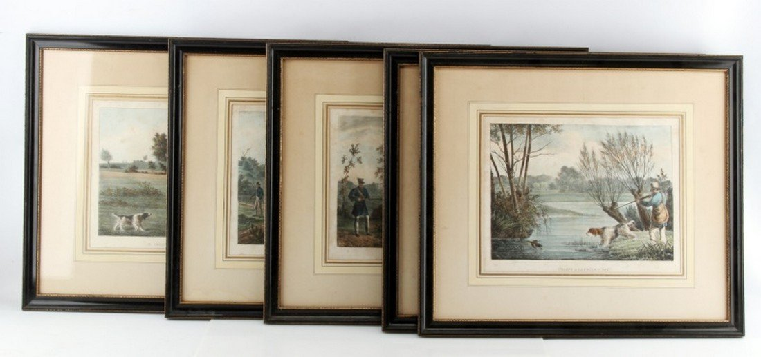 5 ANTIQUE FRENCH HUNTING LITHOGRAPHS