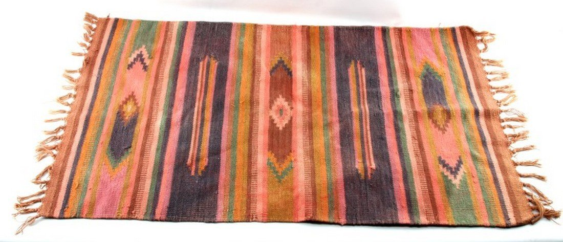 "VINTAGE HAND WOVEN ZAPOTEC RUG 26 BY 41"" AREA RUG"