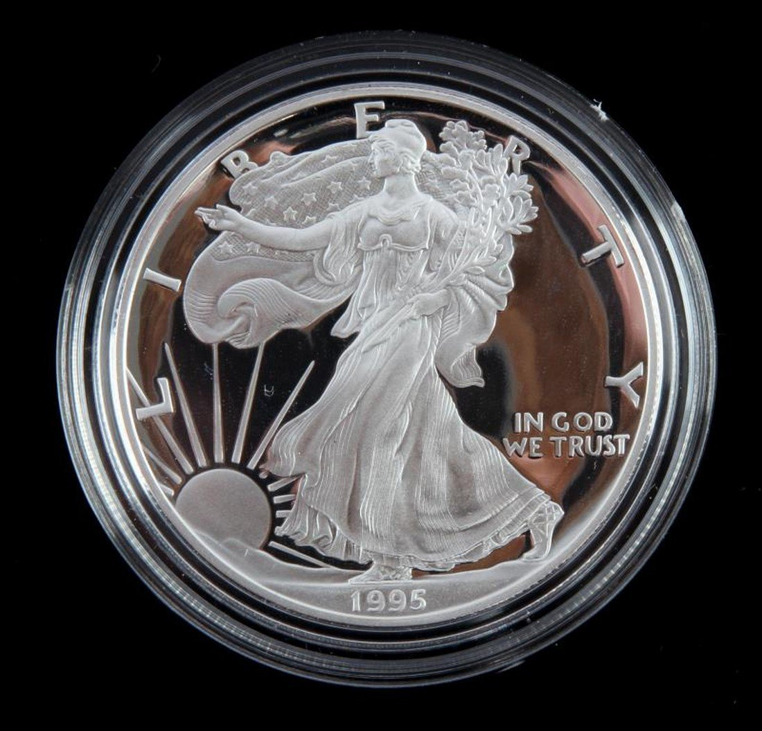 1995 PROOF SILVER AMERICAN EAGLE WITH BOX AND COA