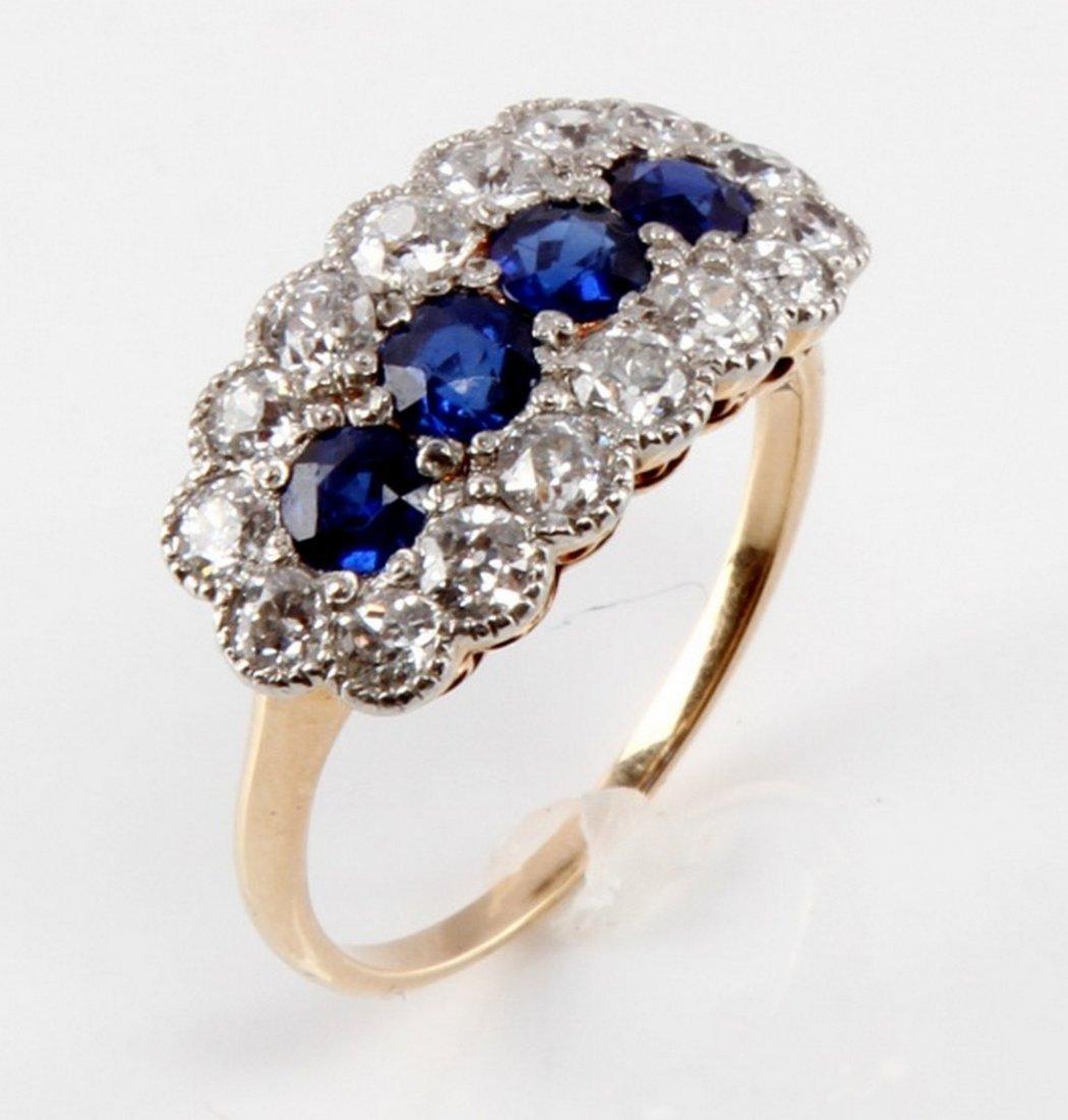 VINTAGE 14 KT YELLOW GOLD DIAMOND & SAPPHIRE RING