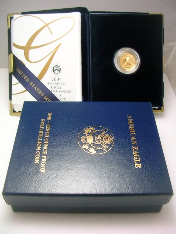 25: 2004 GOLD AMERICAN EAGLE PROOF 1/10 OZ COIN 2004 1/
