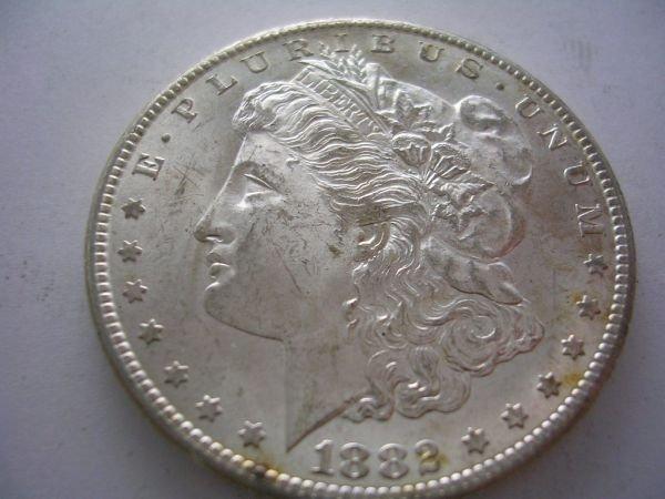 27: 1882 CARSON CITY MORGAN SILVER DOLLAR BU 1882 Carso