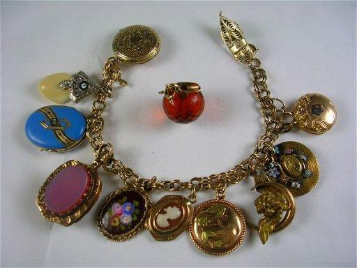 Antique Gold Charm Bracelet Charms