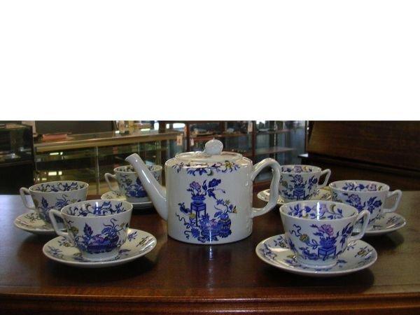 21:  COPELAND SPODE BLUE BOWPOT COFFEE POT & CUPS