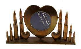 WWII TRENCH ART BULLET  HEART PICTURE FRAME