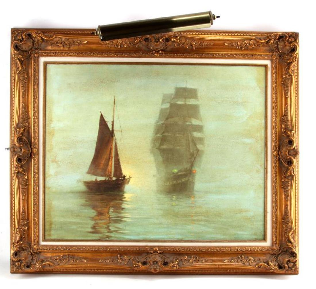 MONTAGUE DAWSON SHIP IN LIGHTED FRAME