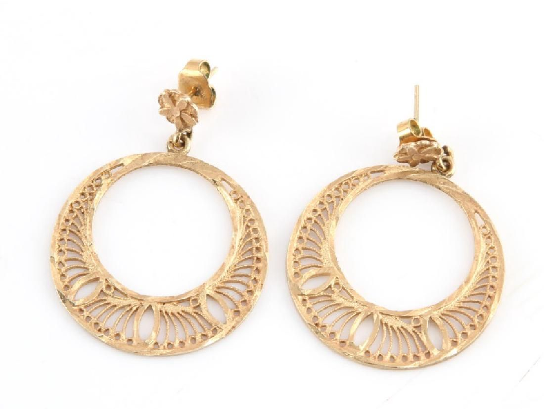 14KT YELLOW GOLD LOOP EARRINGS W SPIRAL DESIGN