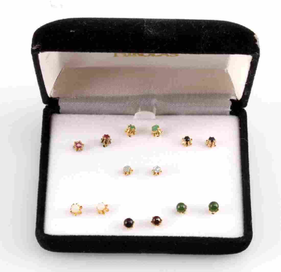 7 PAIRS OF COLORED STONE EARRING SETS BY NIKOLAS