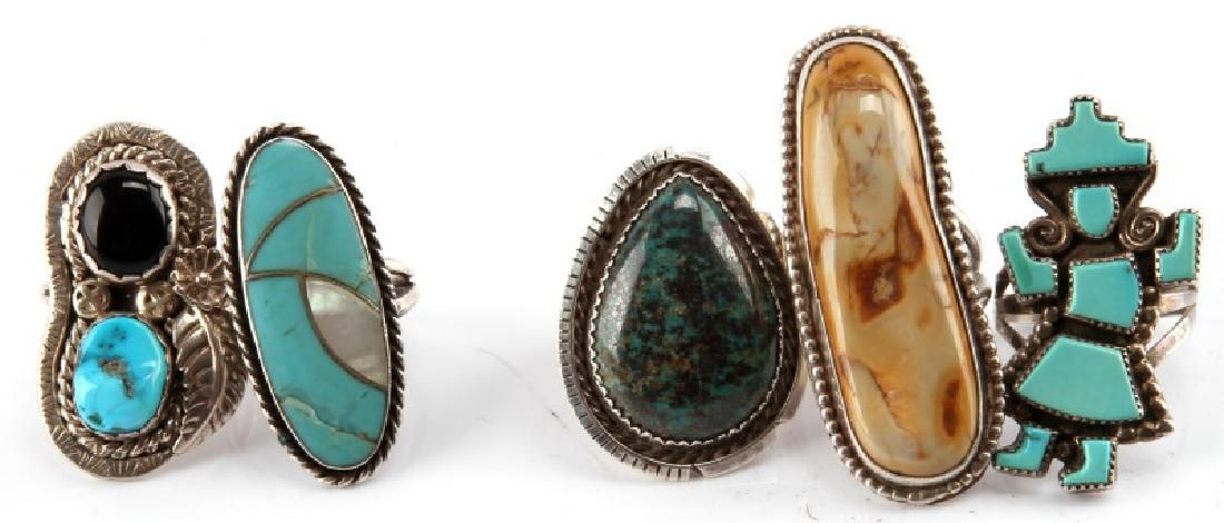 5 NATIVE AMERICAN STERLING SILVER SIGNED RINGS
