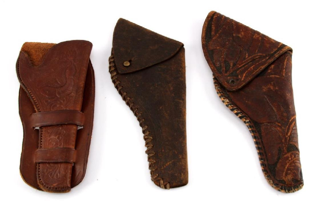 3 ANTIQUE SINGLE ACTION PISTOL HOLSTERS