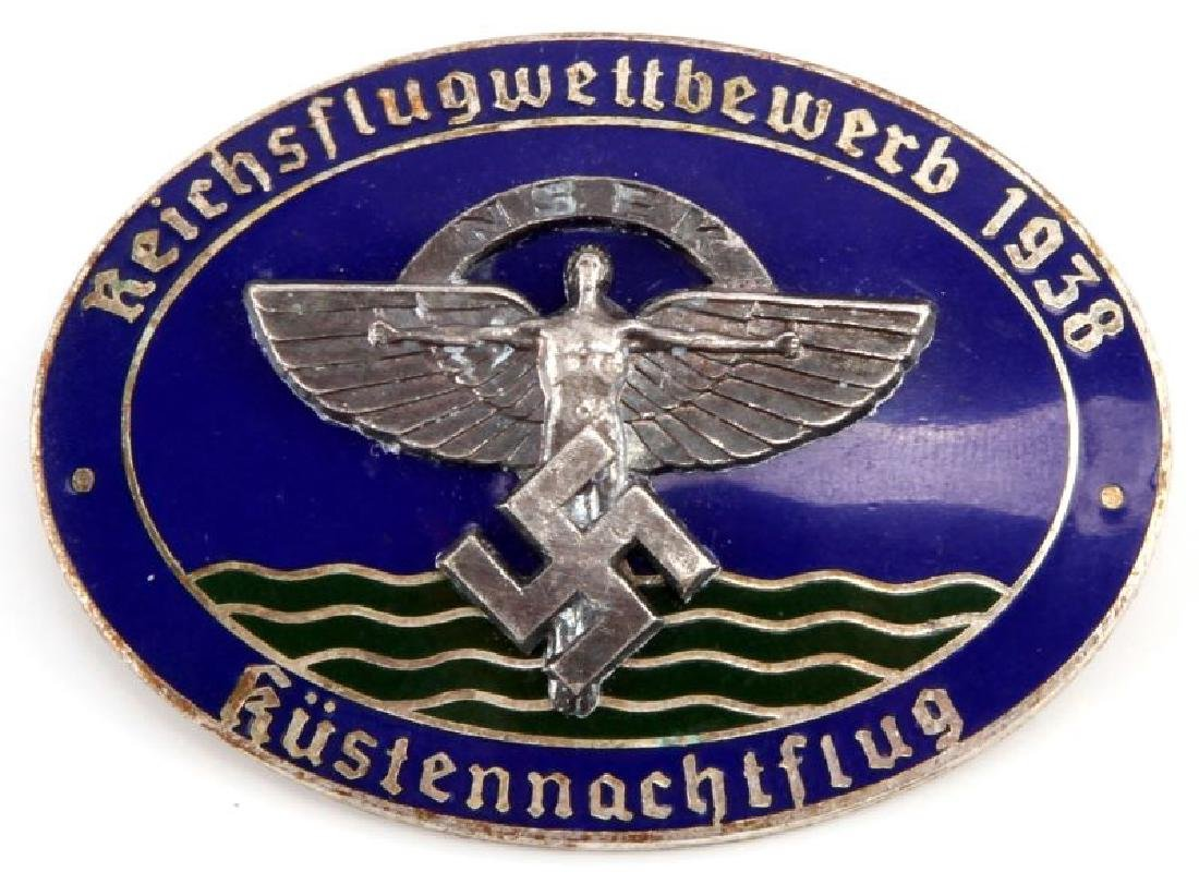WWII GERMAN 1938 NSFK KUSTENNACHTFLUG GLIDER BADGE
