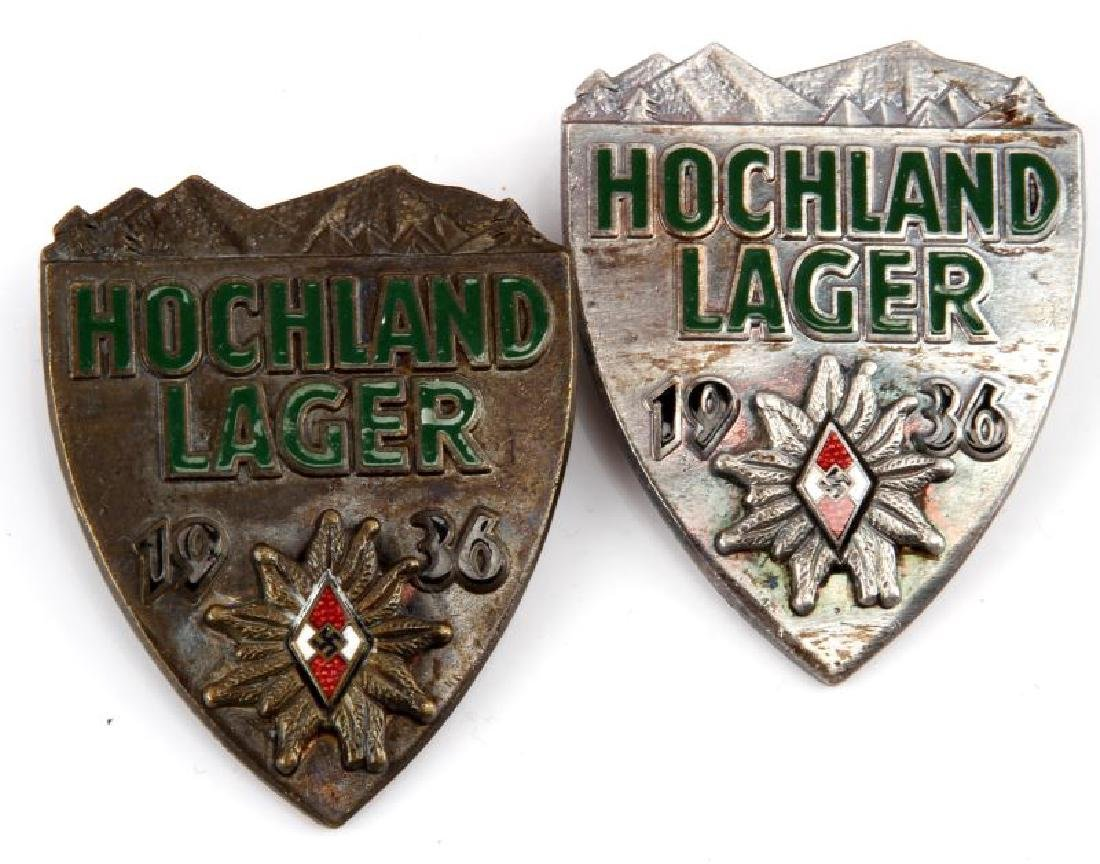 WWII GERMAN HITLER YOUTHER LAGER ALPINE BADGES