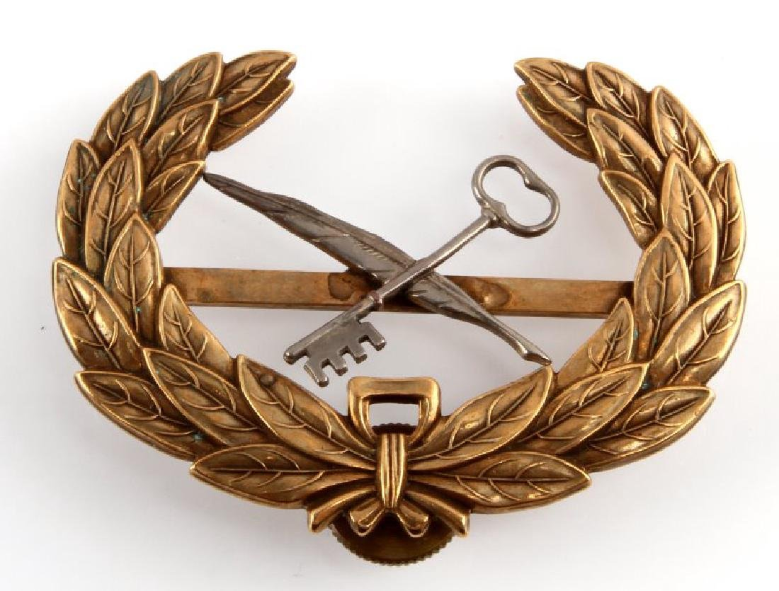 WWI US ARMY STENOGRAPHER OFFICERS VISOR CAP BADGE