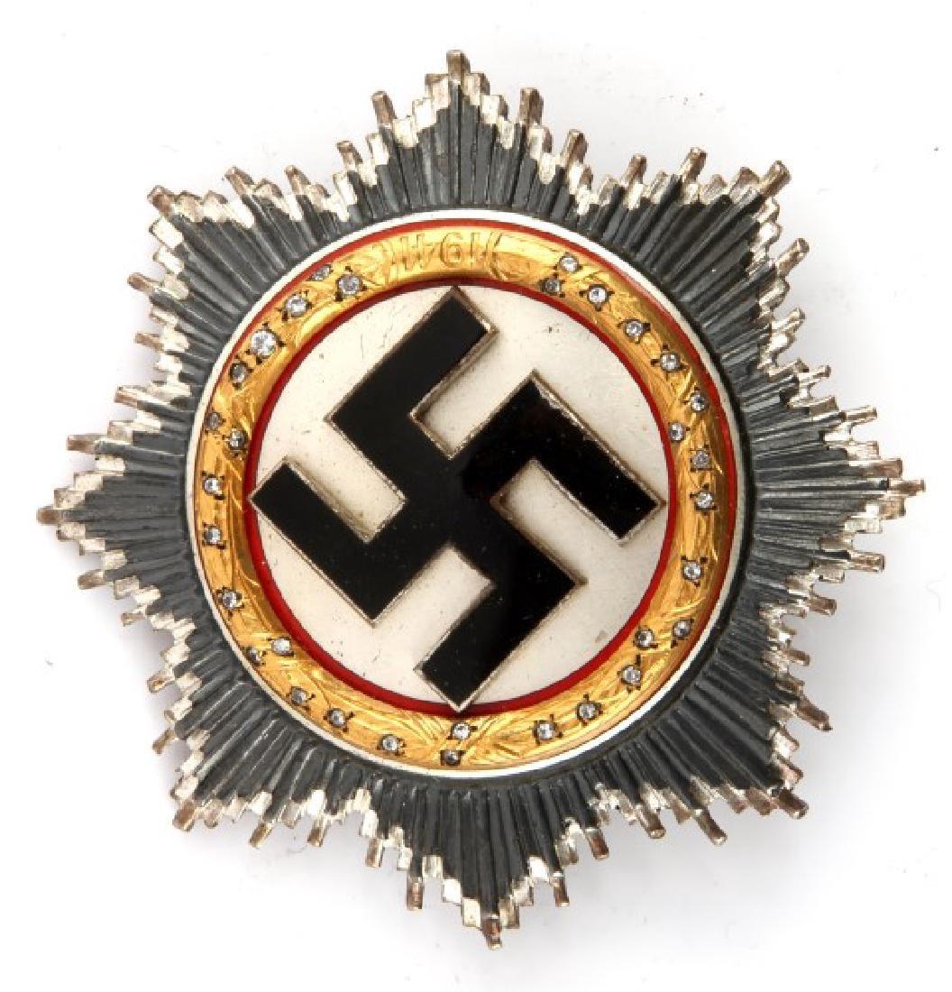 WWII GERMAN CROSS IN GOLD WITH FACSIMILE DIAMONDS