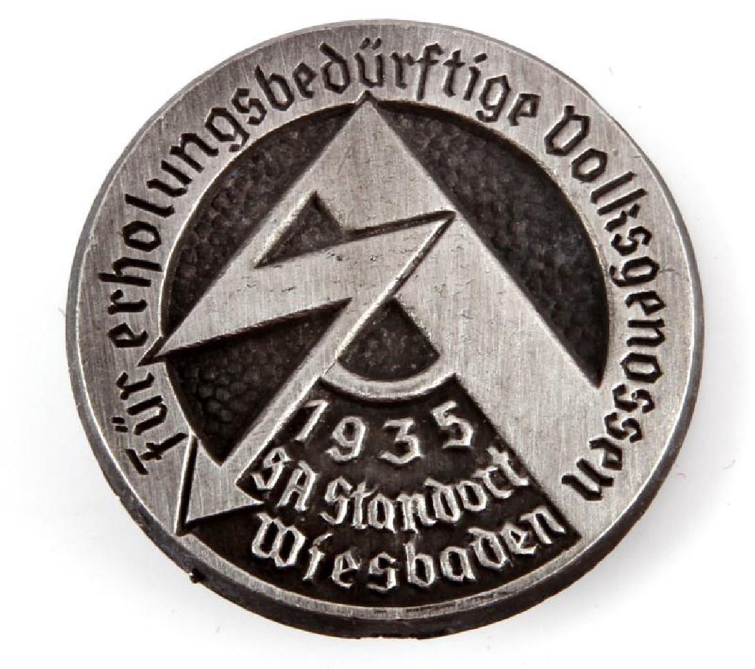 WWII THIRD REICH 1935 SA STANDORT WIESBADEN BADGE