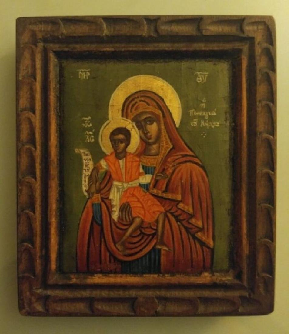ANTIQUE 19 CENTURY GREEK ICON MOTHER OF GOD