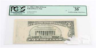 1988 A SERIES $5 ERROR FEDERAL RESERVE NOTE