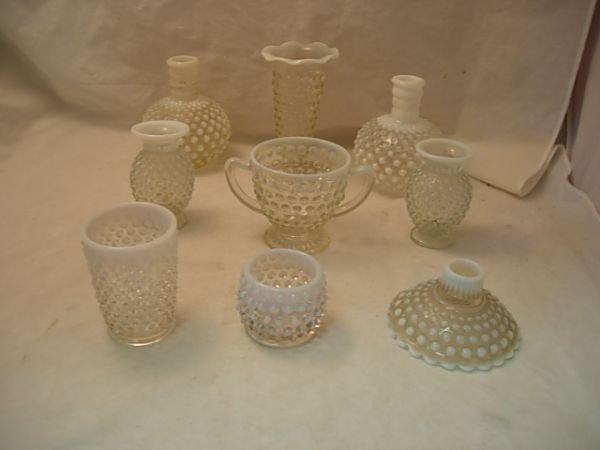 2: 9 PIECE VINTAGE OPALESCENT HOBNAIL GLASS Great lot o