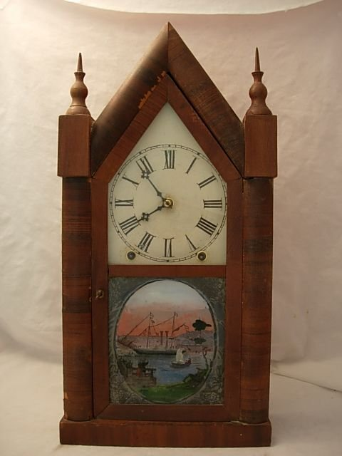 6: ANTIQUE REVERSE PAINTED EIGHT DAY CLOCK Maritime sce