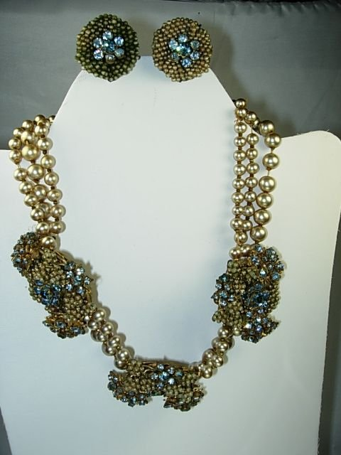VINTAGE MIRIAM HASKELL BAROQUE PEARL NECKLACE SIGNED