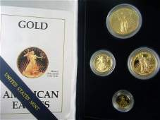 340 1990 US MINT GOLD PROOF AMERICAN EAGLE 4 COIN SET