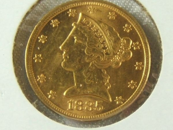 271: 1885-P GOLD $5 HALF EAGLE MS 62 OR BETTER NICE
