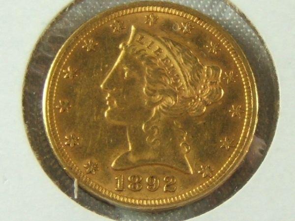 272: 1892 GOLD $5 HALF EAGLE AU CONDITION
