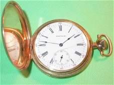401 1917 WALTHAM 14K GOLD POCKET WATCH SIZE 8 17J