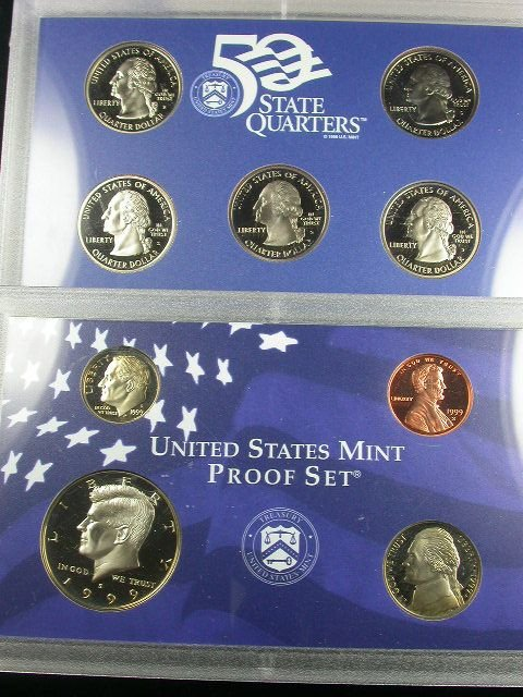 264: 1999 PROOF SET 9 COIN SET CLAD BOXED WITH COA