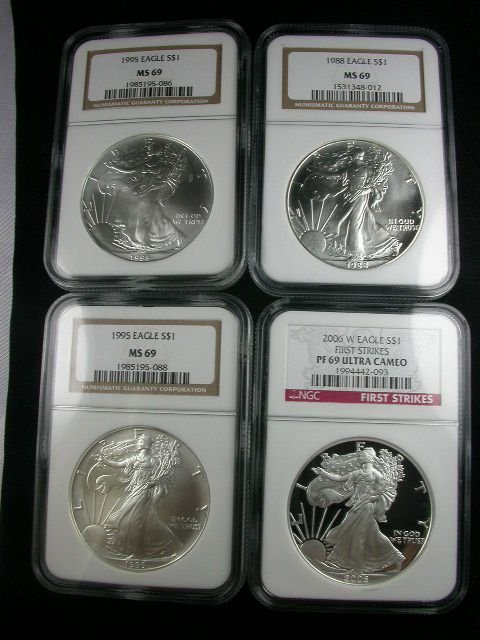 265: SILVER AMERICAN EAGLE LOT NGC PROOF FIRST STRIKE