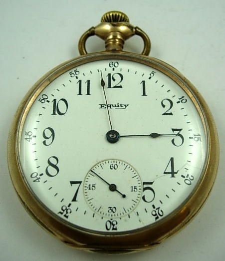 258: ANTIQUE WALTHAM EQUITY CO POCKET WATCH GOLD ROLLED