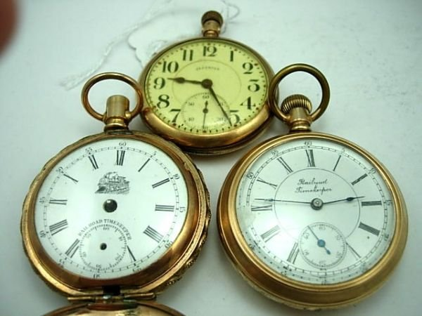 256: ANTIQUE RAILROAD POCKET WATCHES LOT OF 3 ILLINOIS