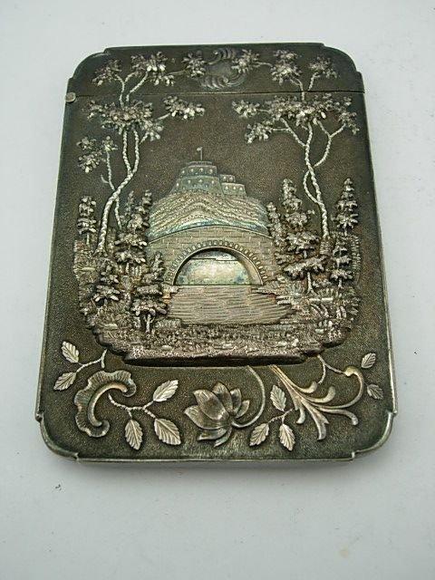 1850 LEONARD & WILSON COIN SILVER REPOUSSE CARD CASE