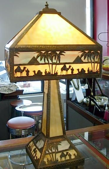 """425: MEYDA TIFFANY STAINED GLASS LAMP EGYPT 27"""" L120"""