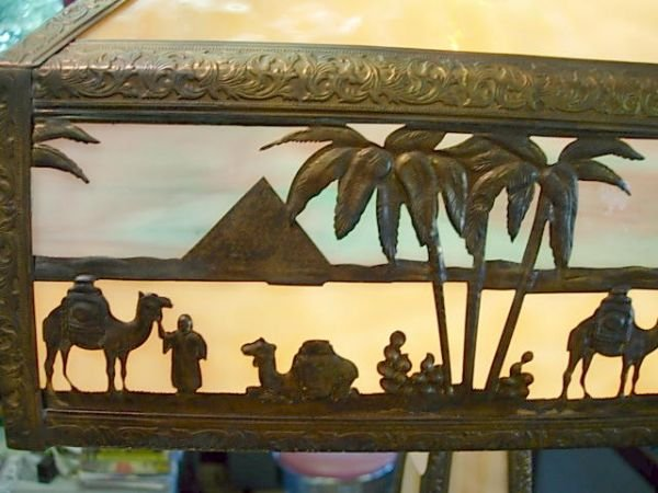 """425: MEYDA TIFFANY STAINED GLASS LAMP EGYPT 27"""" L120 - 2"""