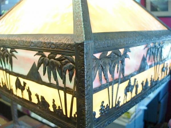 """425: MEYDA TIFFANY STAINED GLASS LAMP EGYPT 27"""" L120 - 5"""