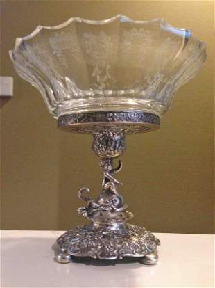 German 800 Silver and Etched Crystal Centerpiece
