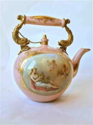 Vienna Handpainted Tea Pot Ormalu Mounts Austria c.1900