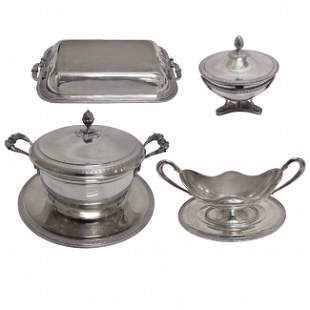 Italian 800 Fine Silver Assembled Dinner Service Pieces