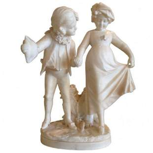 Italian Alabaster Group Children Play Courting c.1900