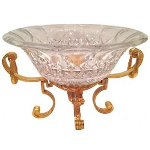 Large French Crystal and Gilt Bronze Centerpiece c.1900
