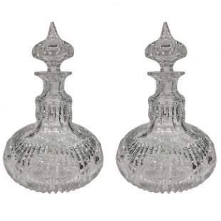 American Brilliant Cut Glass Period Genie Bottles 1900