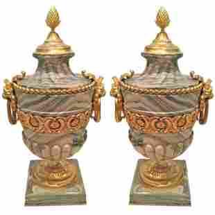 Palatial Gilt Bronze Mounted Marble Urns c.1880
