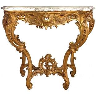 Outstanding 19th Century Carved Giltwood Console Table