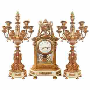 Fine French Gold Gilt Bronze and Marble Clock Set