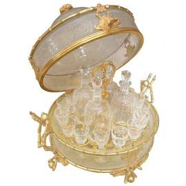 French 19thc Tantalus Acid Etched Crystal Gilt Bronze