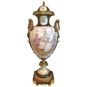 Gilt Bronze Mounted Sevres Style Palace Urn c.1920